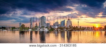 Vienna, Austria. Panoramic Cityscape Image Of Vienna Capital City Of Austria During Sunset.