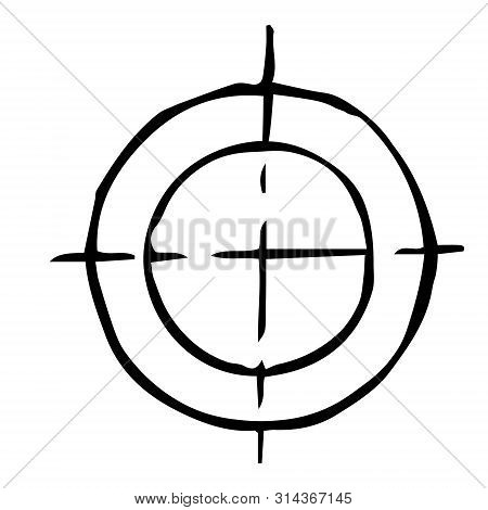Mechanical drawing of 2 circles with center. Simple isolated geometrical object for technical documentation, schoolbooks and further design. Black outline on white background. Vector illustration. EPS10 poster