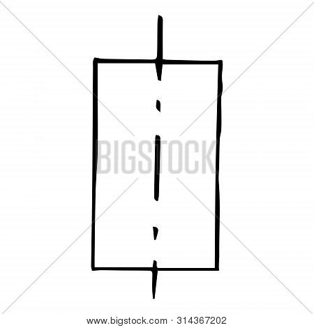 Mechanical drawing of a rectangle 2 parts. Simple isolated geometrical object for technical documentation, schoolbooks and further design. Black outline on white background. Vector illustration. EPS10 poster