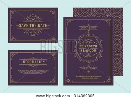 Set Wedding Invitations Flourishes Ornaments Cards Vector Elegant Ornate Templates.