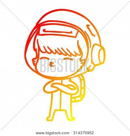 warm gradient line drawing of a cartoon curious astronaut
