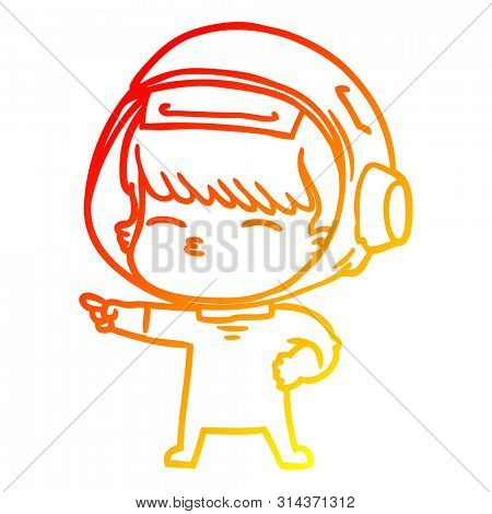 warm gradient line drawing of a cartoon curious astronaut pointing