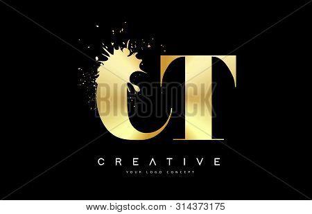 Ct C T  Letter Logo With Gold Melted Metal Splash Vector Design Illustration.
