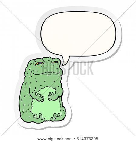 cartoon smug toad with speech bubble sticker