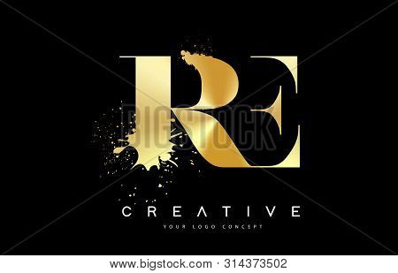 Re R E Letter Logo With Gold Melted Metal Splash Vector Design Illustration.
