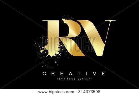 Rv R V Letter Logo With Gold Melted Metal Splash Vector Design Illustration.