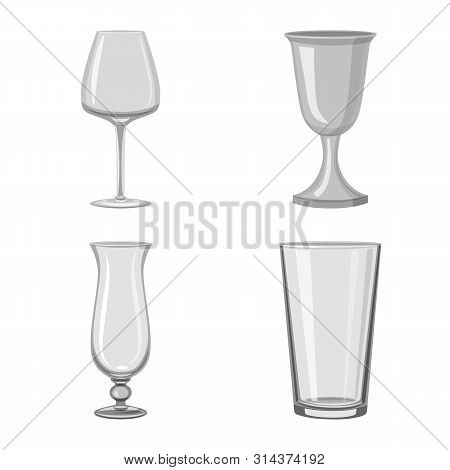 Vector Illustration Of Capacity And Glassware Icon. Set Of Capacity And Restaurant Stock Vector Illu
