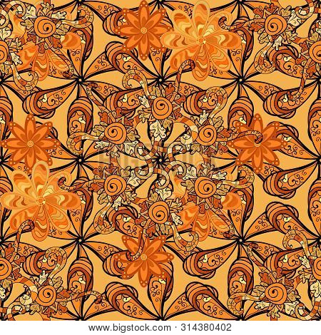 Nice Pattern For Wrapping Paper Raster. Doodles Orange, Black And Yellow On Colors. Seamless Pattern