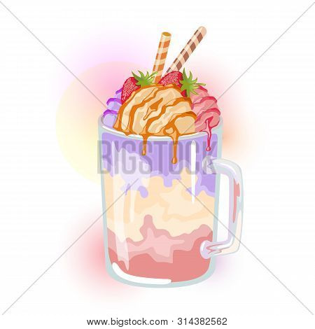Multicolor Milkshake With Different Flavour: Hazeled, Raspberry, Blueberry Garnished Strawberry And