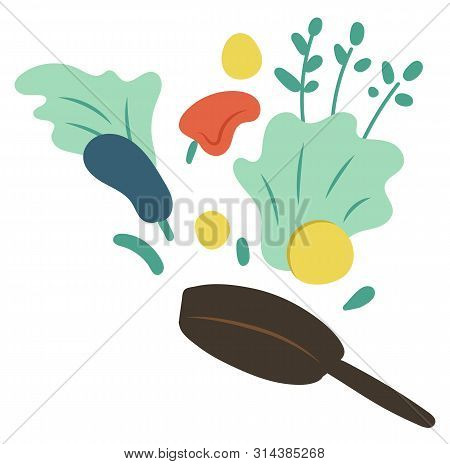 Cook Hobby, Frying Pan With Vegetables. Label Decorated By Bell Pepper, Zucchini And Green, Ingredie