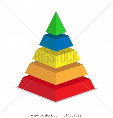 Pyramid Of Success Of Five Sections. Infographics For Presentations Of Applications And Websites, 3d