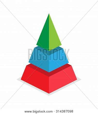 Pyramid Of Success Of The Three Sections. Infographics For Presentations Of Applications And Website