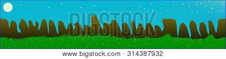 Cyan Sky, And Mountains Landscape. Wide Horizontal Background. Trendy Modern Skinali Design. Recent