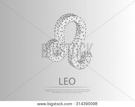 Leo Zodiac Low Poly Abstract Illustration Consisting Of Points, Lines, And Shapes In The Form Of Pla