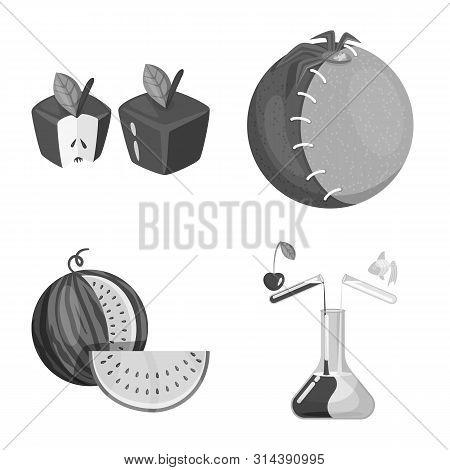 Vector Illustration Of Transgenic And Organic Symbol. Collection Of Transgenic And Synthetic Stock V