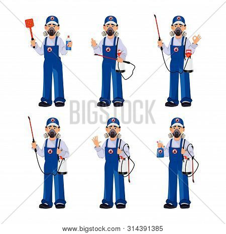 Pest Control Worker In Protective Workwear With Pesticide Sprayer, Set Of Six Poses. Handsome Cartoo