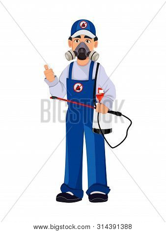 Pest control worker in protective workwear holds pesticide sprayer. Handsome cartoon character. Pest Control Services concept. Vector illustration poster
