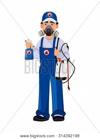 Pest Control Worker In Protective Workwear And Respirator Holds Pesticide Sprayers. Handsome Cartoon
