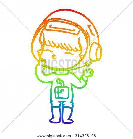 rainbow gradient line drawing of a cartoon curious astronaut wondering