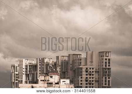 Storms Dark Early Monsoons Over Modern Residential Skyscrapers. Kolkata, Bengal India. Monsoon Rainy