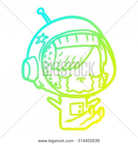 cold gradient line drawing of a cartoon crying astronaut girl