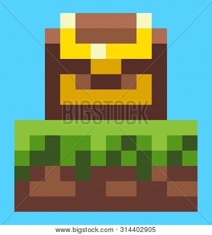 Pixel Game Graphics Vector, Wooden Box With Sealed Wealth For Lucky Finder, Locked Casket With Richn