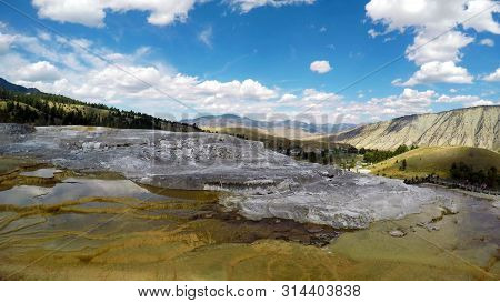 Stock Image Of Mammoth Hot Springs, Yellowstone National Park, Usa..