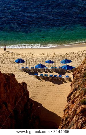 High View Of Chairs On The Beach