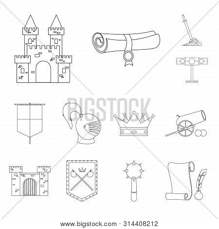 Isolated Object Of Heritage And Ancient Logo. Collection Of Heritage And Tournament Vector Icon For
