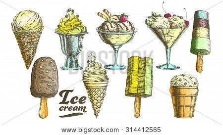 Color Assortment Frozen Ice Cream Set Vintage Vector. Wafer Cone, Caramel Eskimo Or Chocolate Glaze