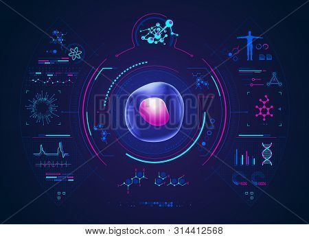 Concept Of Biological Technology Advancement, Graphic Of Cell With Biology Interface