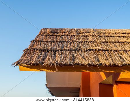 Thatch Roof Background, Hay Or Dry Grass Background,