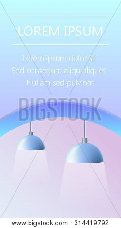 Couple Of Blue Lamps Fixture With Wide Industrial Metal Design On Pink Background. Light Source, Ind