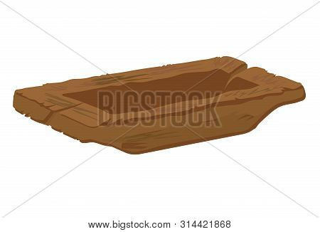 Old Wooden Trough On A White Background. Vector Illustration.