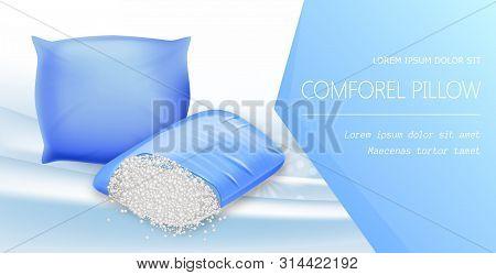 Comforel Pillow Horizontal Banner, Resilient Materials For Excellent Night Sleep. Fiber Puffs Provid