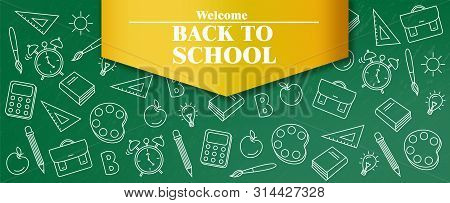 Back To School Sale Poster Vector. Autumn Fall Promotion Banner. School Supplies Promotion Templates