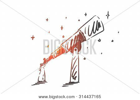 Intuition, Leadership, Success Concept Sketch. Arab In Hijab Standing And Looking At Sky Through Tel