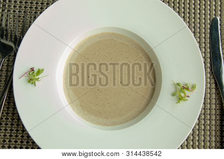 A Delicious Mushroom Soup In White Bowl