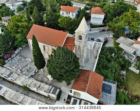 Croatian Village Aerial View. Church In Marusici, Dalmatia.