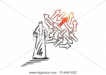 Problem, Trouble, Risk, Danger Concept Sketch. Man From Saudi Arabia Standing And Trying To Choose R