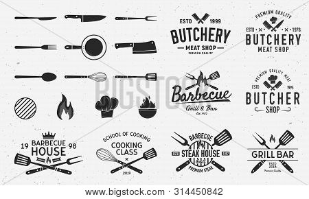 Collection Of Butchery, Barbecue And Grill  Logo, Emblems, Labels, Badges. Set Of 8 Logo Templates A