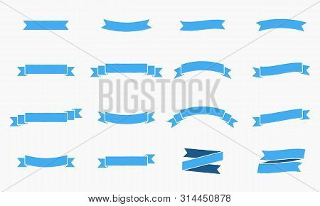 Vector Ribbon Banners. Vintage Design Of Ribbon Banners. Set Of 16 Blue Ribbons Banners.