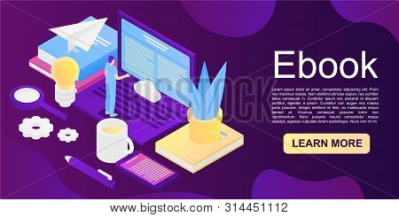 Ebook Concept Background. Isometric Illustration Of Ebook Vector Concept Background For Web Design