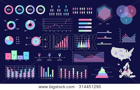 Set Of Diagrams, Graphs, Plots And Charts.  Business Graphs Infographic Elements. Statistical Data,