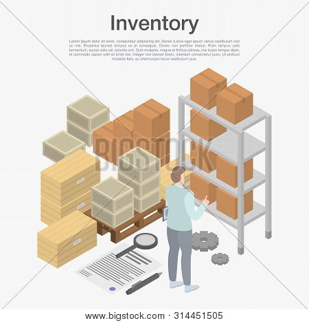 Inventory Concept Background. Isometric Illustration Of Inventory Vector Concept Background For Web