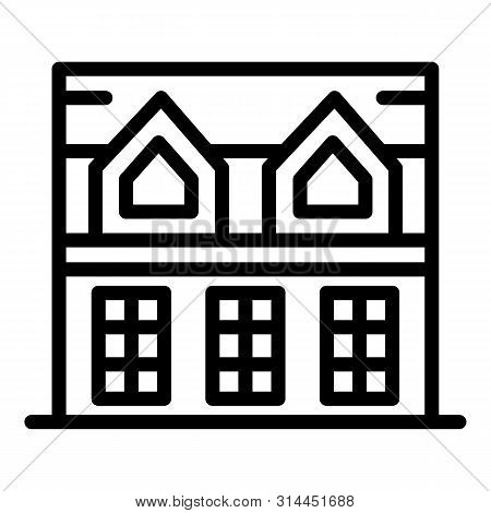 House With Attic Icon. Outline House With Attic Vector Icon For Web Design Isolated On White Backgro