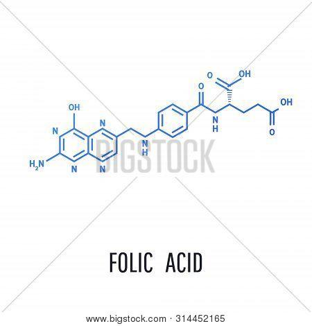 Folic Acid Structural Formula. Structural Formula Of Folic Acid On A White Background