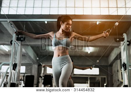Young Fitness Woman Execute Exercise With Exercise-machine In Gym, Horizontal Photo.doing Workout Ex