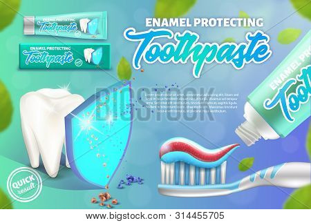 Advertising Design Concept Of The Enamel Protecting Toothpaste. Illustration Of Tooth Under The Shie