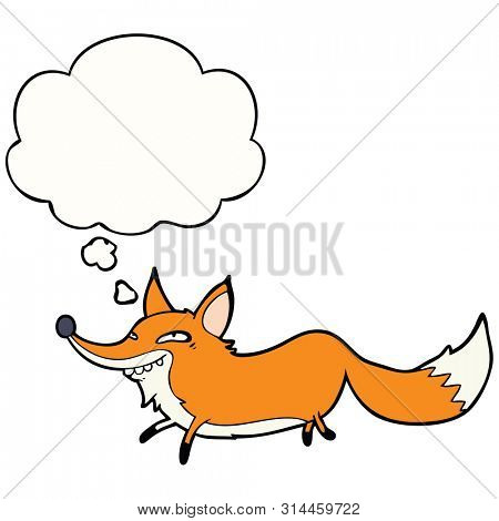 cartoon sly fox with thought bubble